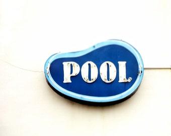 "Vintage neon sign seashore white blue aqua turquoise retro Jersey shore beach modern pastel summer ocean - ""Pool"" 8 x 10"