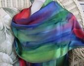 Scarf, Silk, Women, Hand Dyed, Marina Silk Scarf, Blueberry Lime Papaya