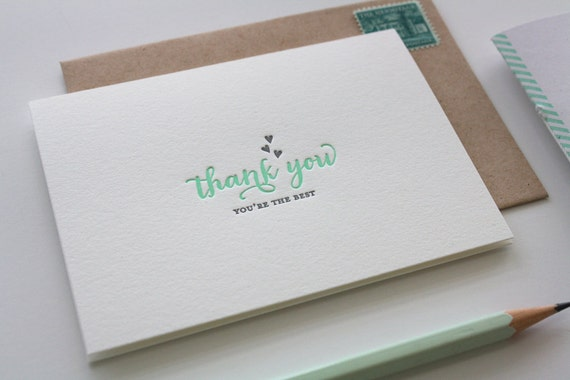 Letterpress Thank You Cards - Thank You Hearts in Mint