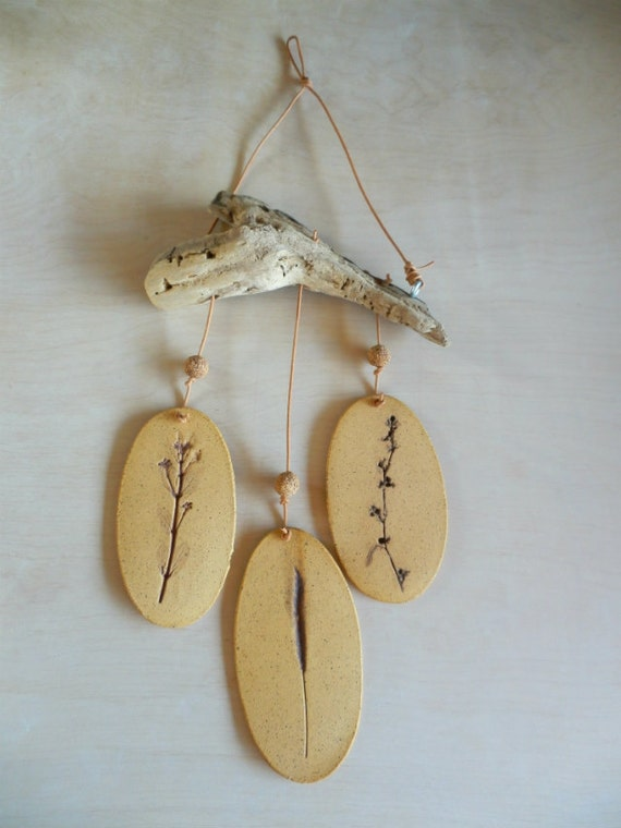 SALE 20% OFF -- Lovely Handmade Speckled Stoneware Wind Chime w/ Weed Impressions & Driftwood