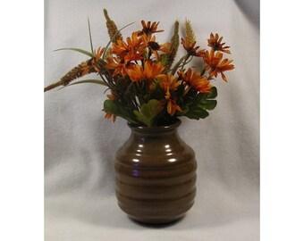 Rich Brown Rippled Porcelain Vase