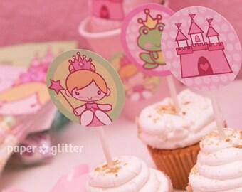 Princess Party Cupcake Toppers -  Printable PDF