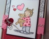 Handmade Stamped Stitched Happy Valentine's Day Card