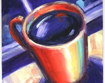 4 x 4 Small Oil Painting Evening Coffee Kitchen Art