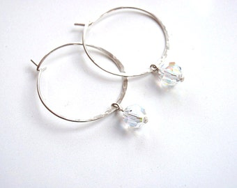 Silver Hoop Earrings Hammered with Crystals