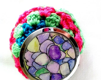 Hydrangea hand painted watercolor illustration Limited edition compact mirror