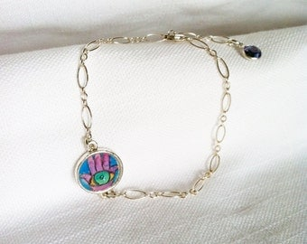 Hand of Fatima Bracelet hand painted watercolor illustration sterling silver