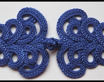 Two Extra large blue Chinese Frogs fasteners jacket closure buttons