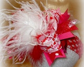 Over the Top Bows, Valentines Day Over the Top, Ostrich Feather Hair Bow, Boutique Hairbow, Love hairbows, Valentines hair Bows, Red Bows