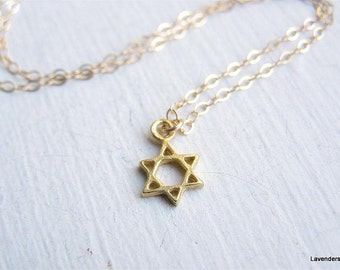 Star Of David Necklace ,   Magen David Necklace ,  Gold Necklace , Star Necklace