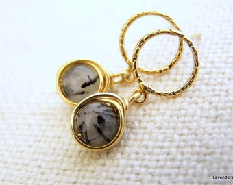 Tourmalinated Quartz Earrings , Gold Gemstone Dangle Post Earrings , Circle Studs , Gold Post Earrings , Black Rutilated Quartz Stud Earring