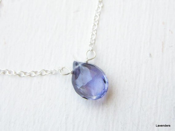 Iolite  Necklace , Blue  Teardrop Necklace ,  Sterling Silver Necklace  , Modern , Simple Everyday Jewelry