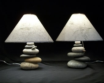 Bedside Lamps   .set of Balance Rock Lamps