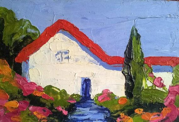 Original Oil Painting Landscape Cottage Garden Lynne French Impressionist Art 5x7