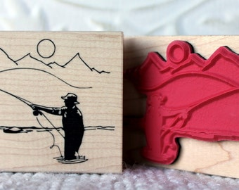 Serene Fly Fishing rubber stamp from oldislandstamps