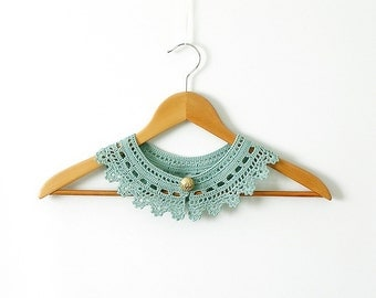Jade Lace Collar Necklace Jade Green Neckpiece Woman Crochet Collar Mint
