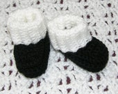Black with white cuff booties