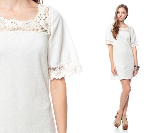 White Crochet Dress 70s Mini Boho Tunic LACE Hippie 60s BOHEMIAN Wedding 1970s Cutwork Open Weave Vintage Mod Shift Extra Small Medium xs