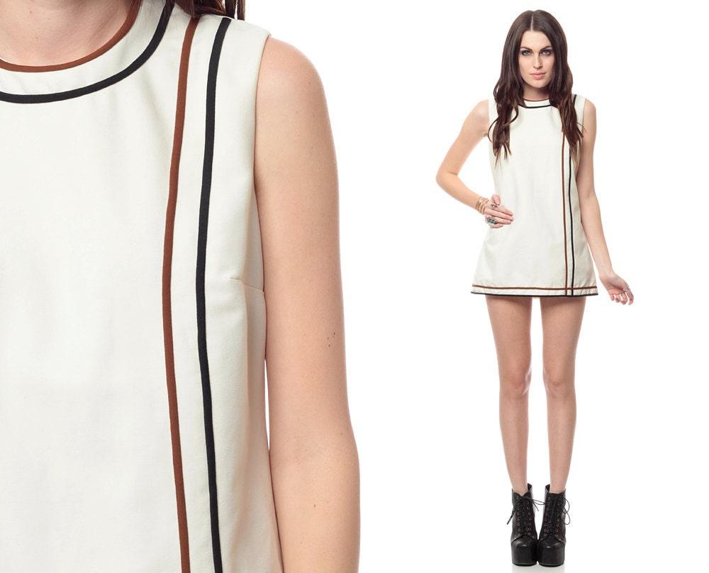 Micro mini dress 60s white striped tennis shift 1960s by shopexile