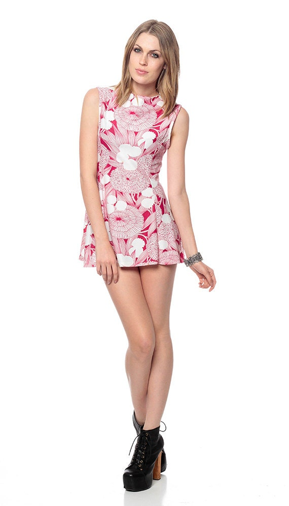 Micro Mini Dress 60s Graphic Pink FLORAL Print Shift 1960s LOW