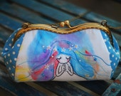 Embroidery Mermaid Cosmetic Bag (Cosmetic Case, Makeup Pouch, Travel Bag, Cotton Fabric, Metal Frame)