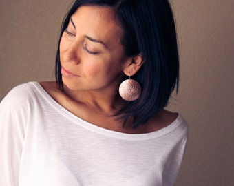 """Rustic yet modern copper earrings, bold large round slightly domed dangles with an intricate cultural pattern - """"Copper Mandala Earrings"""""""