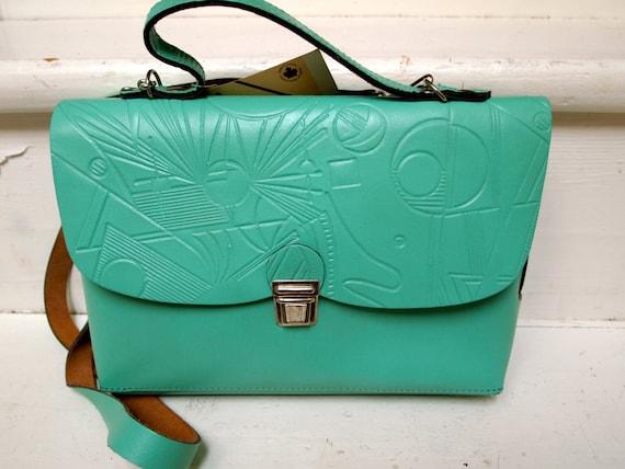 Beautiful satchel style mint green leather purse, 1980s graphics, NOS, unique