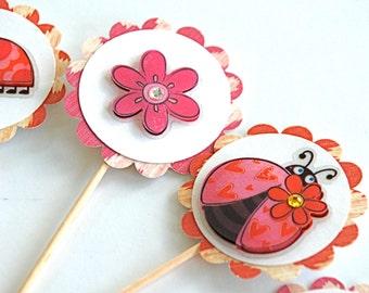 Lala Ladybugs - Cupcake Toppers