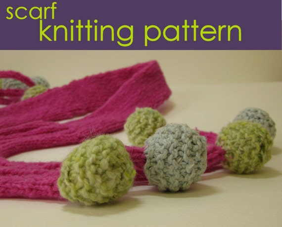 Knit Bobble Stitch In The Round : Bobble Scarf Knitting Pattern Knitted Scarf Knitting Pattern