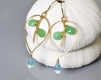 Chrysoprase Leaf Earrings with Sky Blue Topaz Drop - 14k gold filled wire wrapped, hand shaped, dangle, faceted briolette, dew