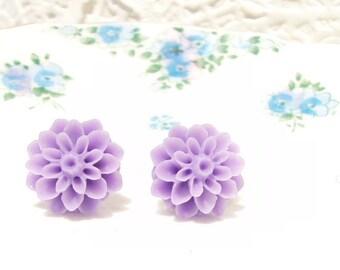 Telling Secrets - Purple Flower Stud Earrings - Mum Earrings - Crysanthimum