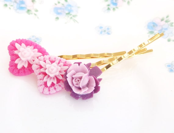 My Hearts Desire - Heart and Flower Bobby Pin Set - Valentines Day Gift - Heart Hair Pins