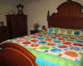 Snowball Quilt, Patchwork Quilt, Queen Size Quilt NEW SALE PRICE