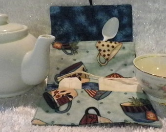 Tea Wallet Cozy in Pale Teal Background with Tea Cup print