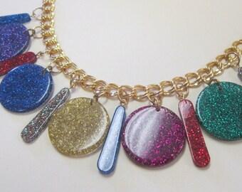 Vintage Glitter Lucite Charm Bracelet DEADSTOCK