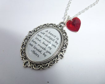 The Wizard Of Oz - A Heart Is Not Judged Quote Silver Cameo Necklace/Pendant & Heart Charm