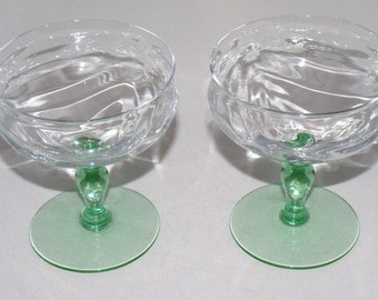 1940s set of two Elegant Glass Sherbets