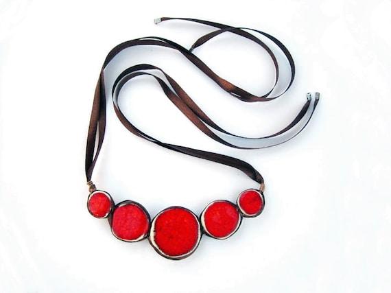 Red Statement Necklace Geometric Ceramic Jewelry