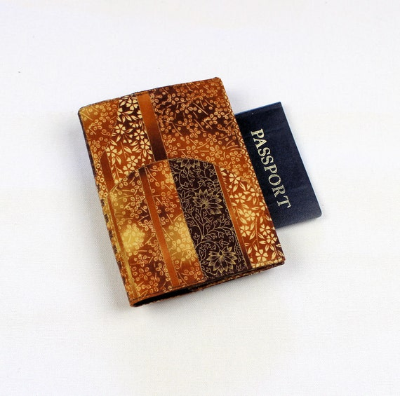 Fabric Passport Cover with Velcro Closure - Oriental Circles in Golden Brown