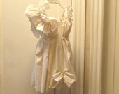 RESERVED Flower Girls Dress Size 4 Ruffle Fairy Spring Eco Ivory Cotton Patisserie  Eco Friendly