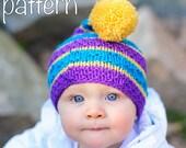 make your own Textured Striped Stocking Cap (DIGITAL KNITTING PATTERN) preemie newborn baby toddler child
