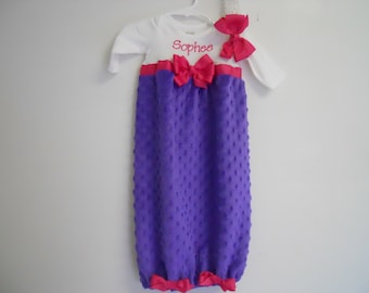 Boutique Purple Minky Chenille Infant  Girls Layette Gown Set Soo Pretty great for coming home outfit