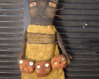 Primitive Elspeth Witchy Cat Doll