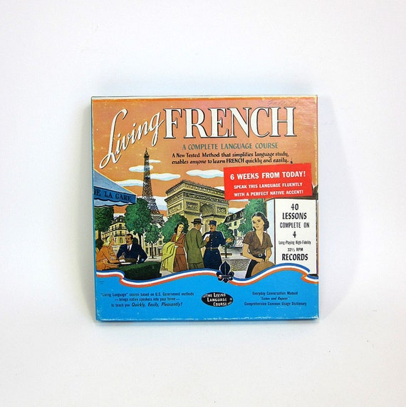 Living French 4 Record Language Course 60s / Complete