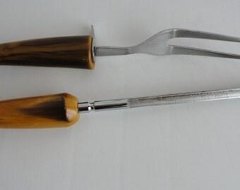 Vintage Yellow  Black Swirl Bakelite Serving Fork and Sharpener 60s
