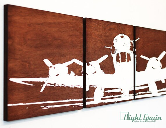 Wooden Airplane Wall Decor : Airplane wall art on dark woodgrain by rightgrain