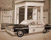 Mayberry Squad Car Sepia from the Original Watercolor by Michael Joe Moore