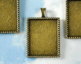 5 Bronze Rectangle Bezel Blank Charm Pendants Rope Edge Setting - Resin or Glaze Fill  (P1106)