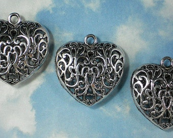 1 Heart Pendant Hollow Filigree 35mm Silver Finish (P887)