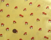 RESERVED listing for eang18 - FREE SHIPPING 1 yard Heather Ross Lightning Bugs Mushrooms on yellow, Rare, Out of print Destash fabric